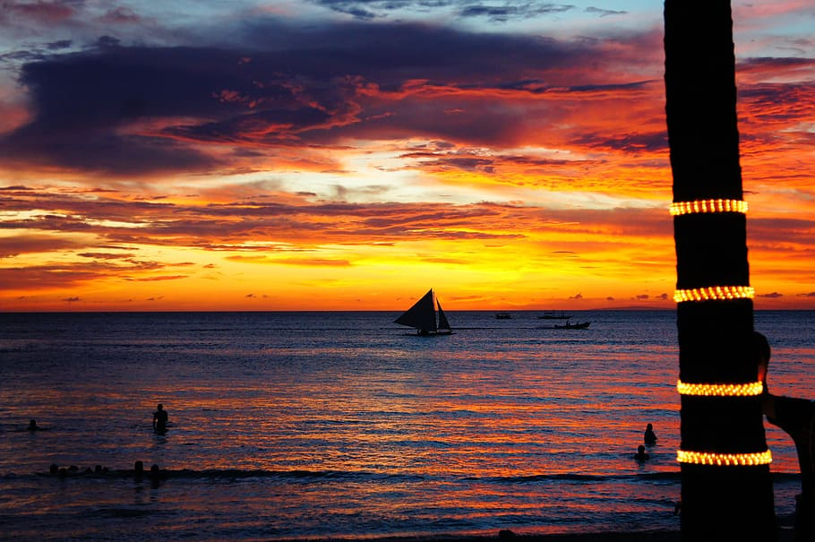 Sunset on Boracay Island Beach, Philippines